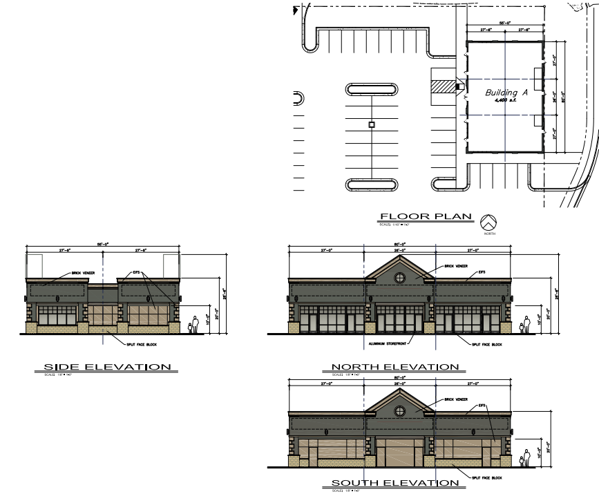 retail A elevations